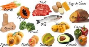 VitaStrength.com - Sources of vitamin A to prevent nutritional deficiencies: eggs, broccoli, fish, mangoes.